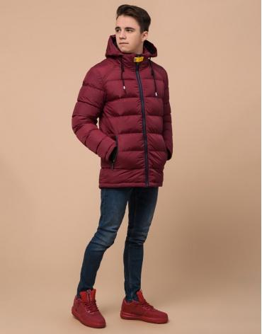 Бордовая практичная подростковая куртка модель 75263