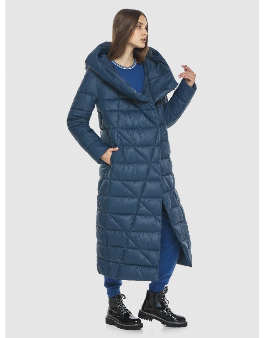 Синяя длинная женская куртка Vivacana 9470/21 фото 3