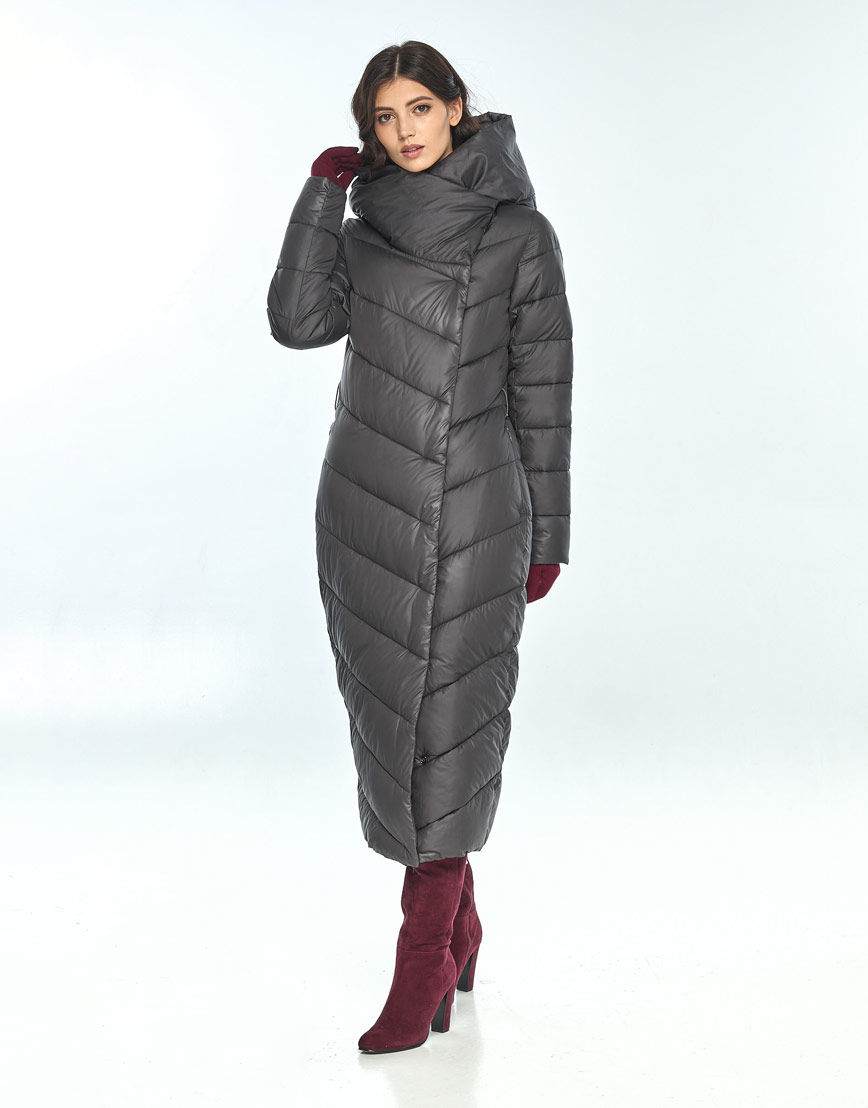Практичная куртка большого размера Vivacana серая женская на зиму 9405/21 фото 2
