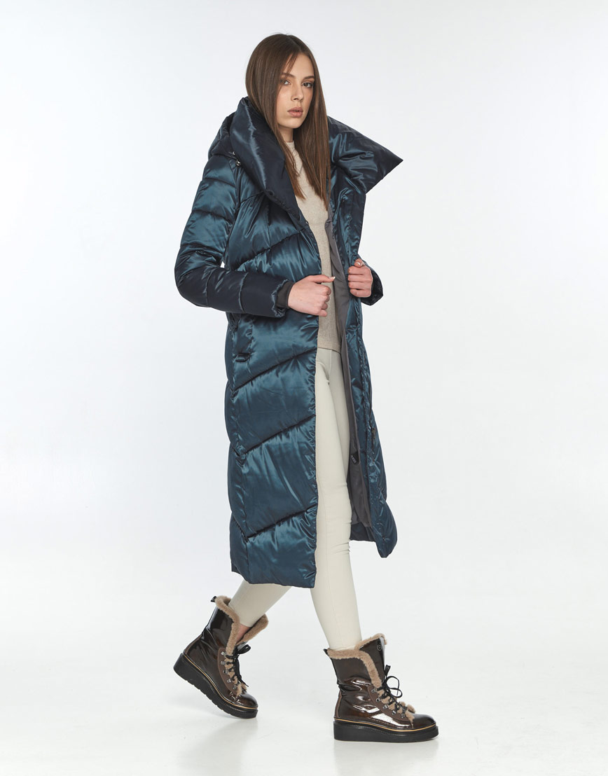 Модная зимняя куртка зелёная женская Wild Club 514-35 фото 1