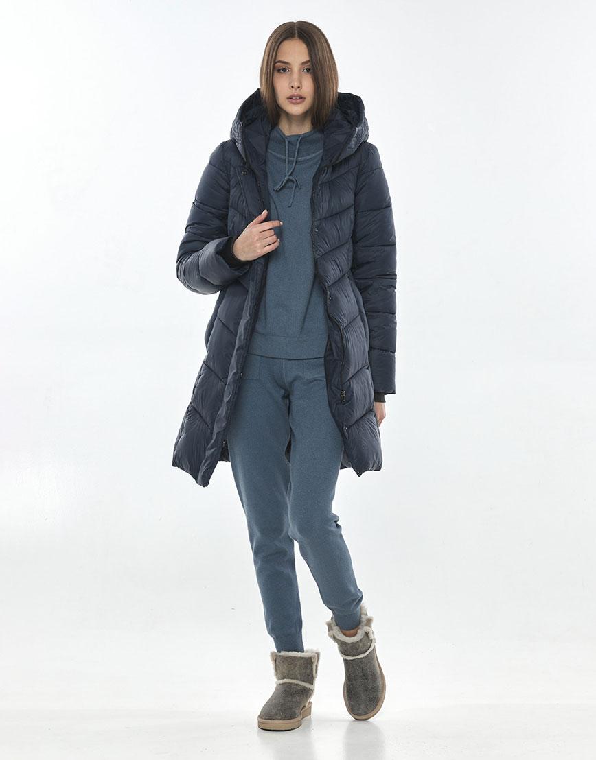 Комфортная куртка синяя для подростка девушки Vivacana 7821/21 фото 2