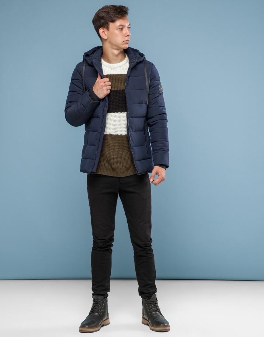 Темно-синяя куртка удобного фасона подростковая модель 6016 фото 3
