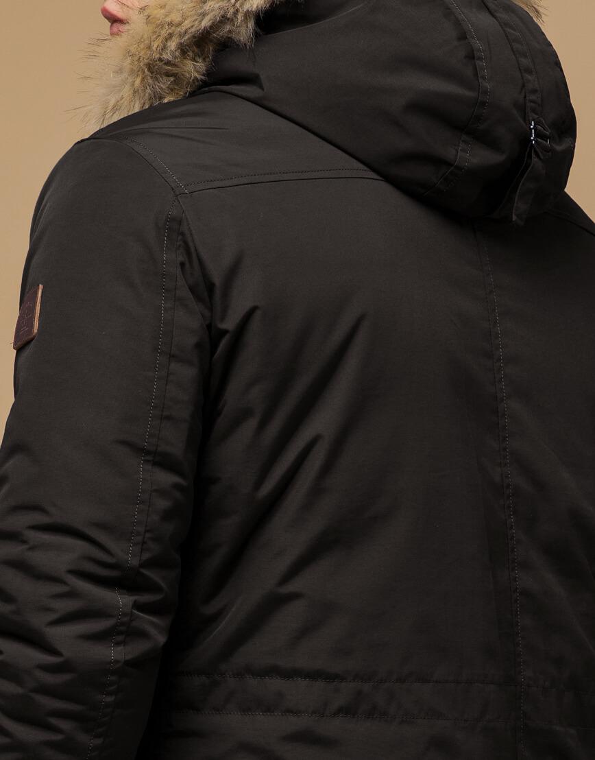 Модная зимняя парка коричневого цвета модель 14015 фото 6