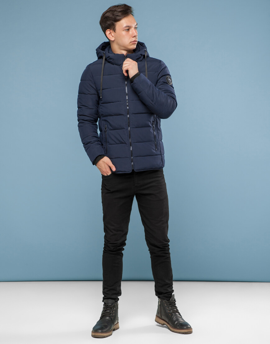 Темно-синяя куртка удобного фасона подростковая модель 6016 фото 2