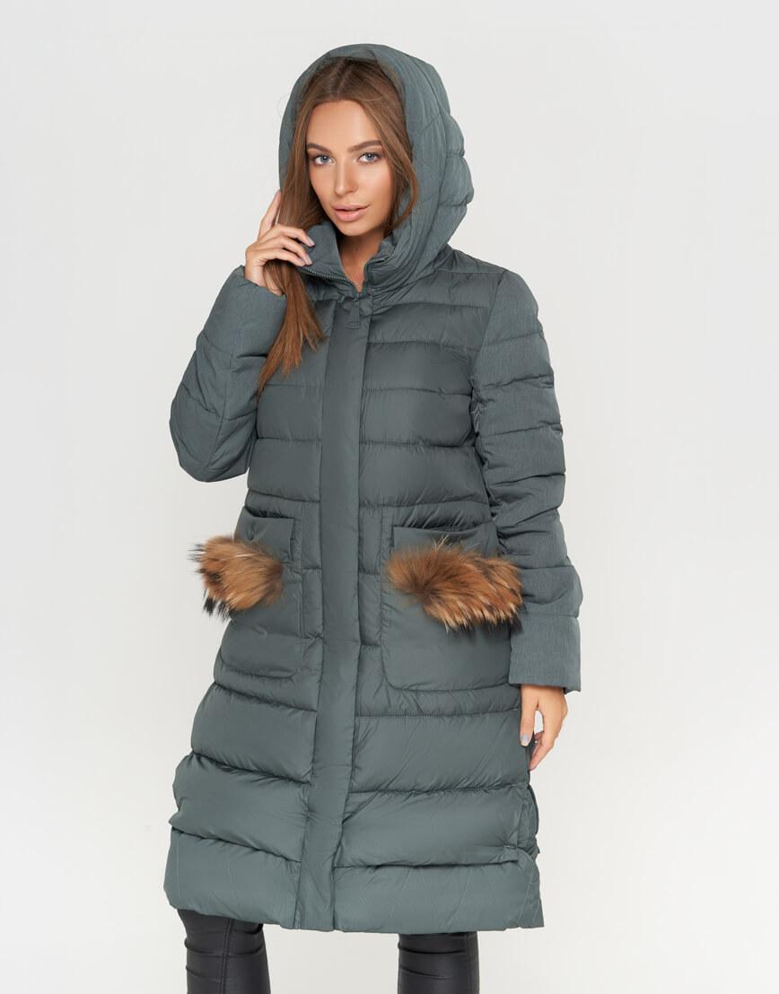 Практичная женская куртка цвет изумрудный модель 717 фото 2