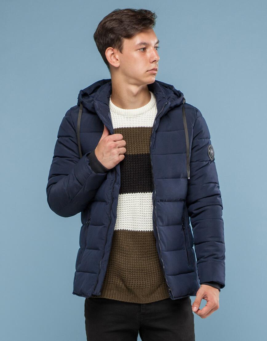 Темно-синяя куртка удобного фасона подростковая модель 6016 фото 1