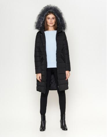Женская длинная куртка цвет черный модель 8606