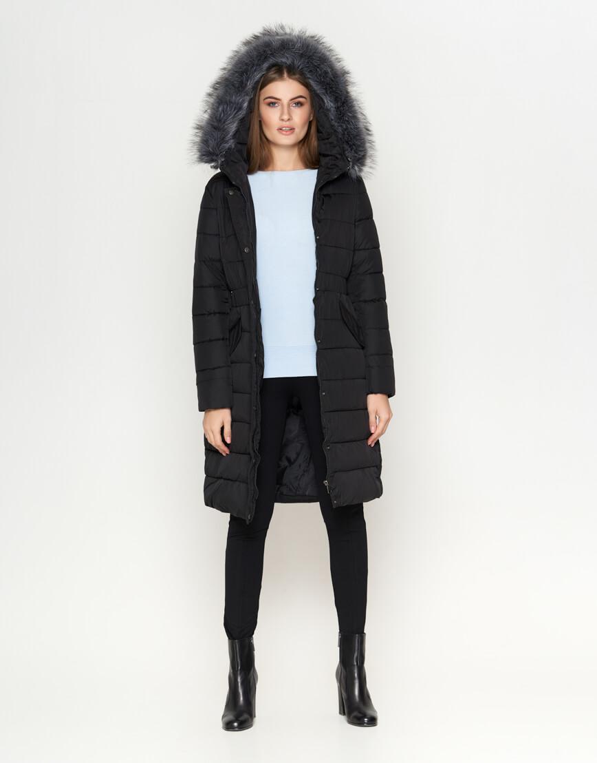 Женская длинная куртка цвет черный модель 8606 фото 1
