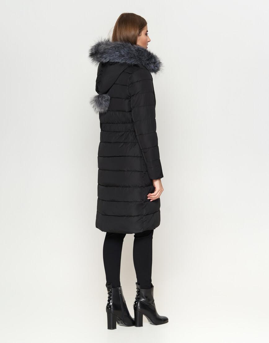 Женская длинная куртка цвет черный модель 8606 фото 4