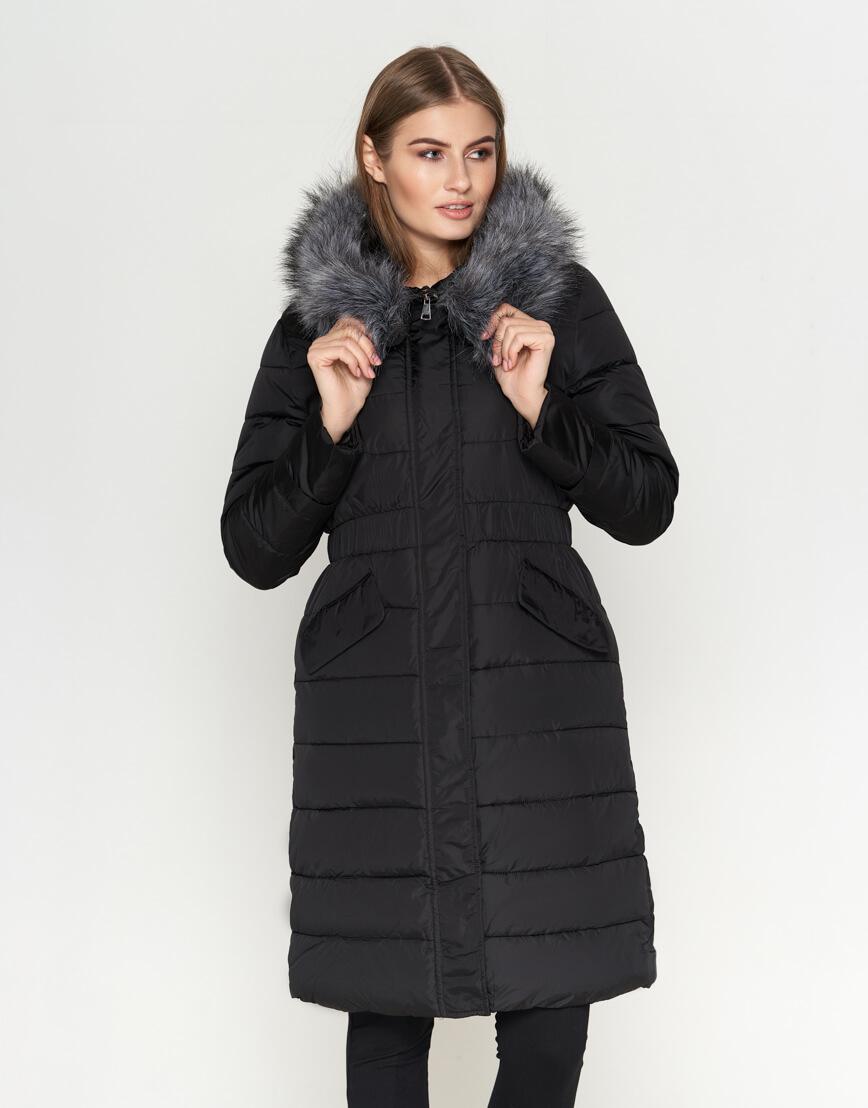 Женская длинная куртка цвет черный модель 8606 фото 2