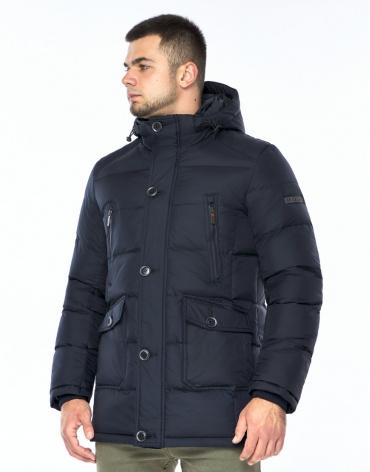Темно-синяя куртка зимняя удобного фасона модель 24750