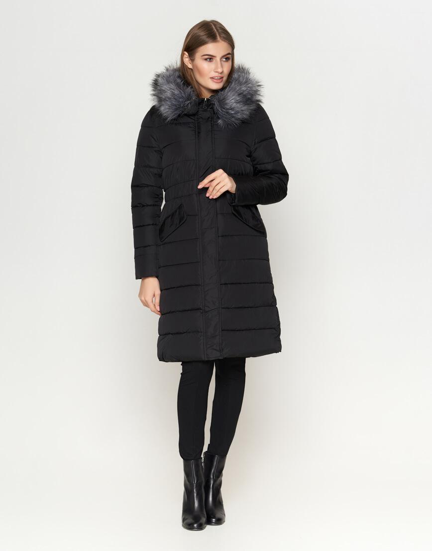 Женская длинная куртка цвет черный модель 8606 фото 3