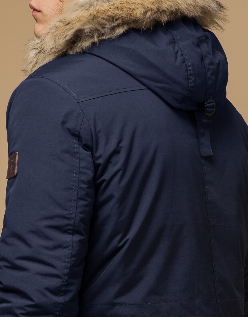 Синяя парка с капюшоном зимняя модель 14015 фото 6