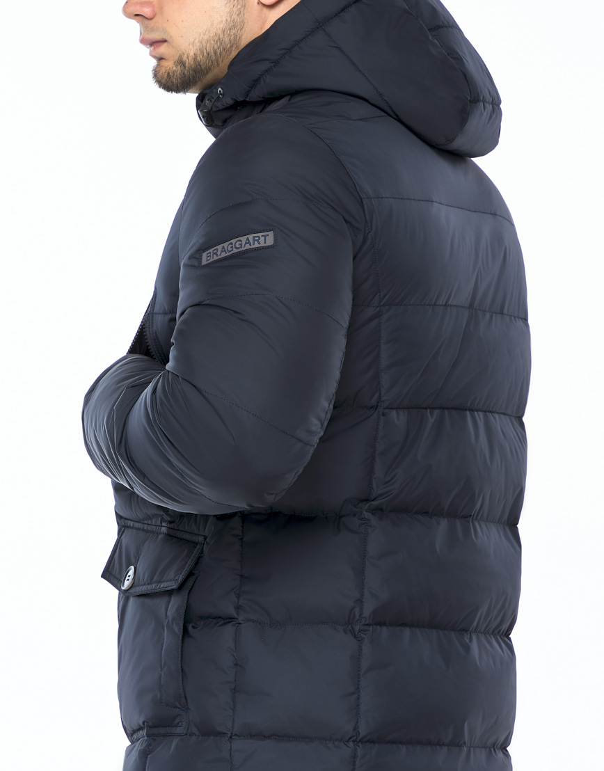 Темно-синяя куртка зимняя удобного фасона модель 24750 фото 6