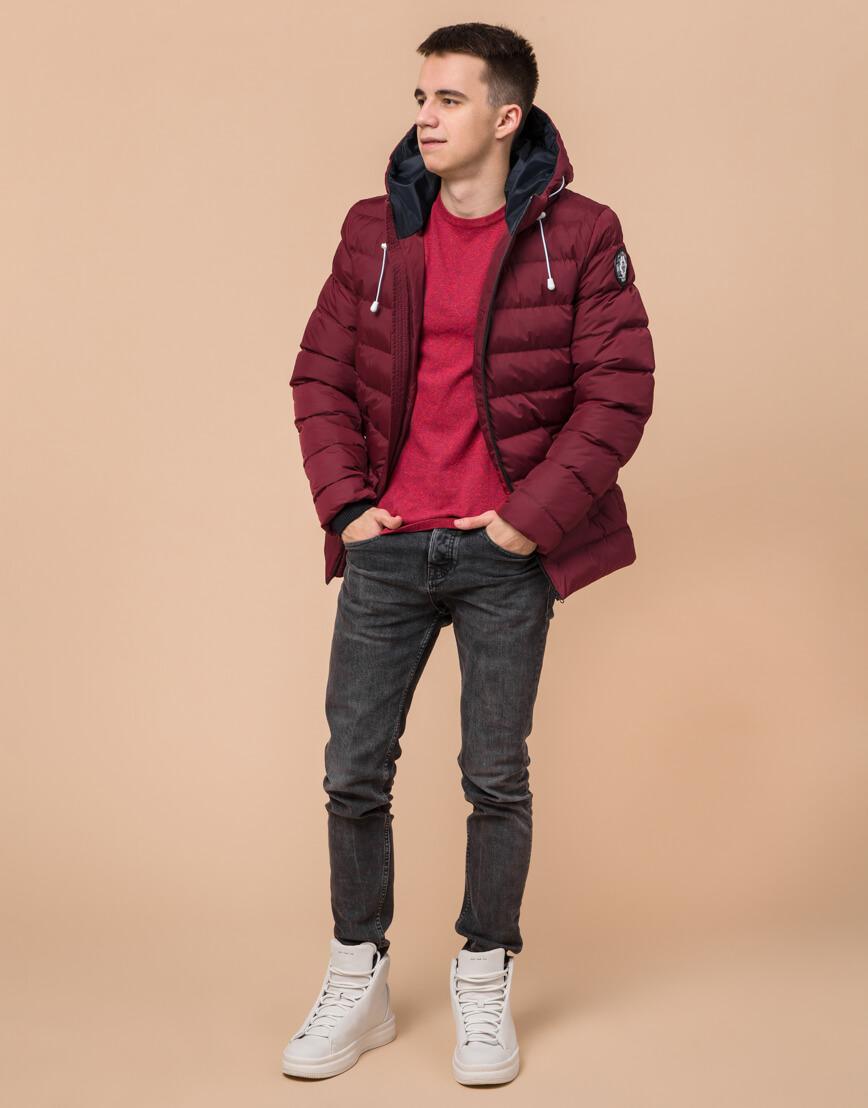Куртка подростковая комфортная бордовая модель 76025 фото 2