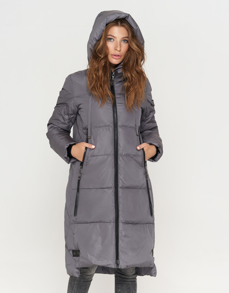 Серая женская куртка оригинальная модель 8310
