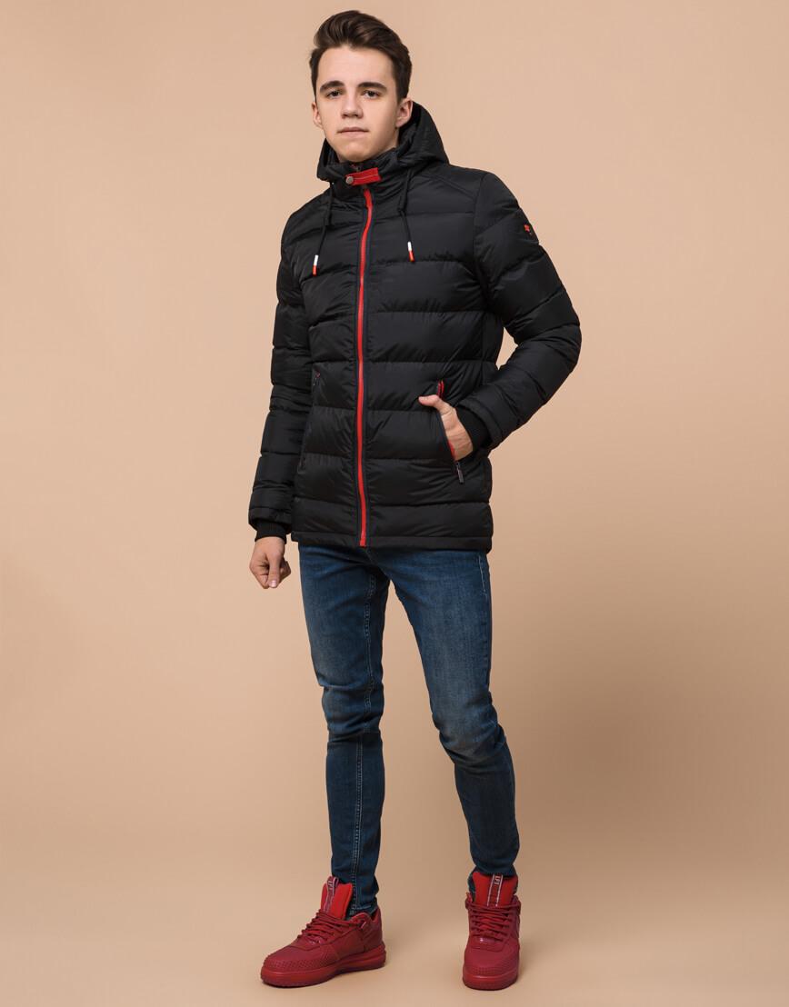 Фабричная черная подростковая куртка модель 75263