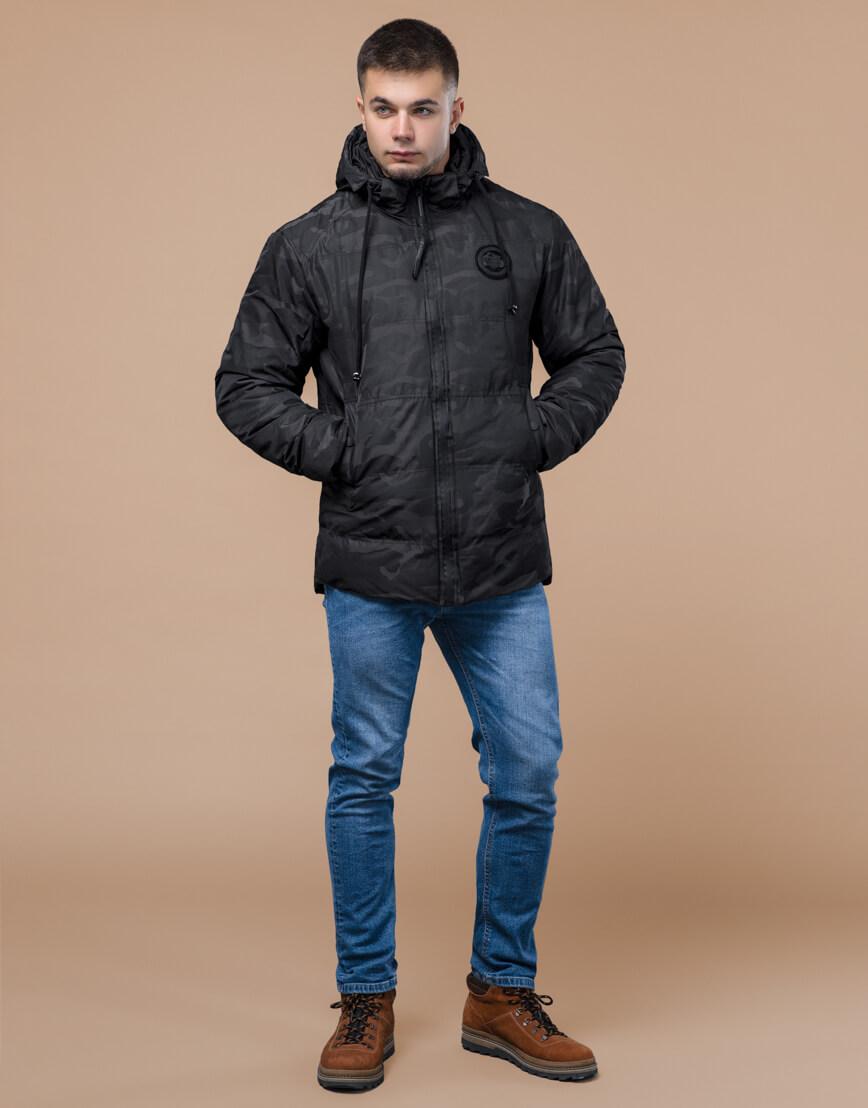 Черная трендовая подростковая дизайнерская куртка 25020 оптом фото 3