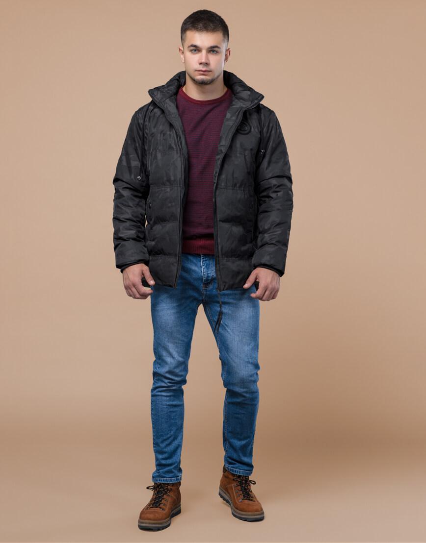 Черная трендовая подростковая дизайнерская куртка 25020 оптом фото 1