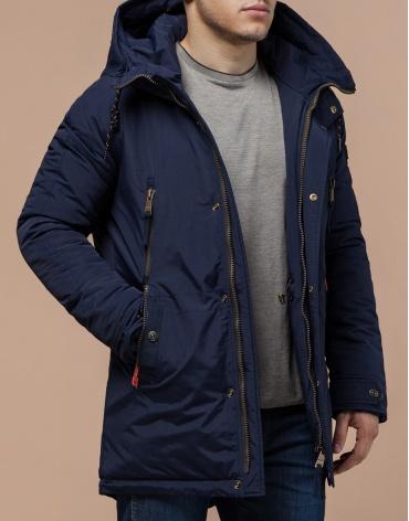 Зимняя парка синего цвета мужская модель 3587 оптом