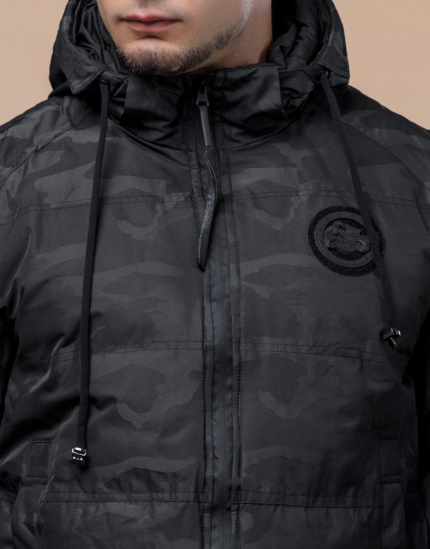 Черная трендовая подростковая дизайнерская куртка 25020 оптом фото 5