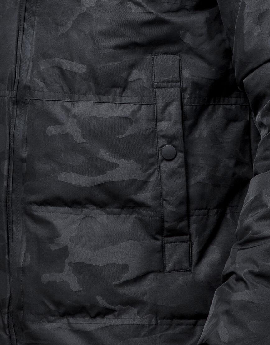 Черная трендовая подростковая дизайнерская куртка 25020 оптом фото 6