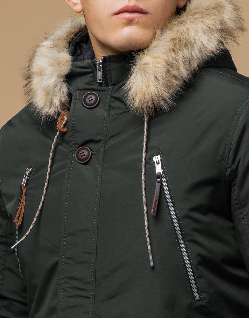 Парка модная зимняя цвета хаки модель 14015 фото 4