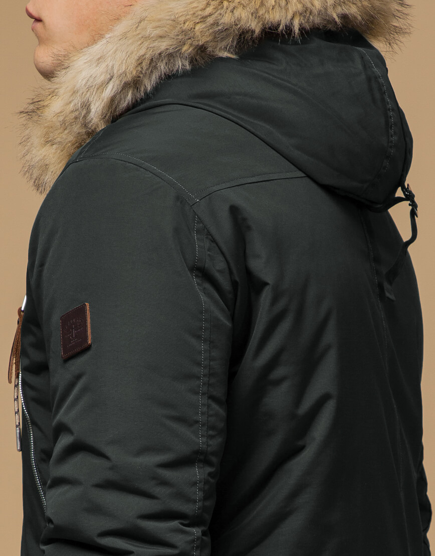 Парка модная зимняя цвета хаки модель 14015 фото 6