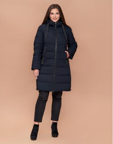 Куртка зимняя женская эксклюзивная большого размера темно-синяя модель 25045