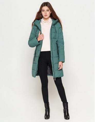 Женская молодежная зеленая куртка в стиле кэжуал модель 25285-1