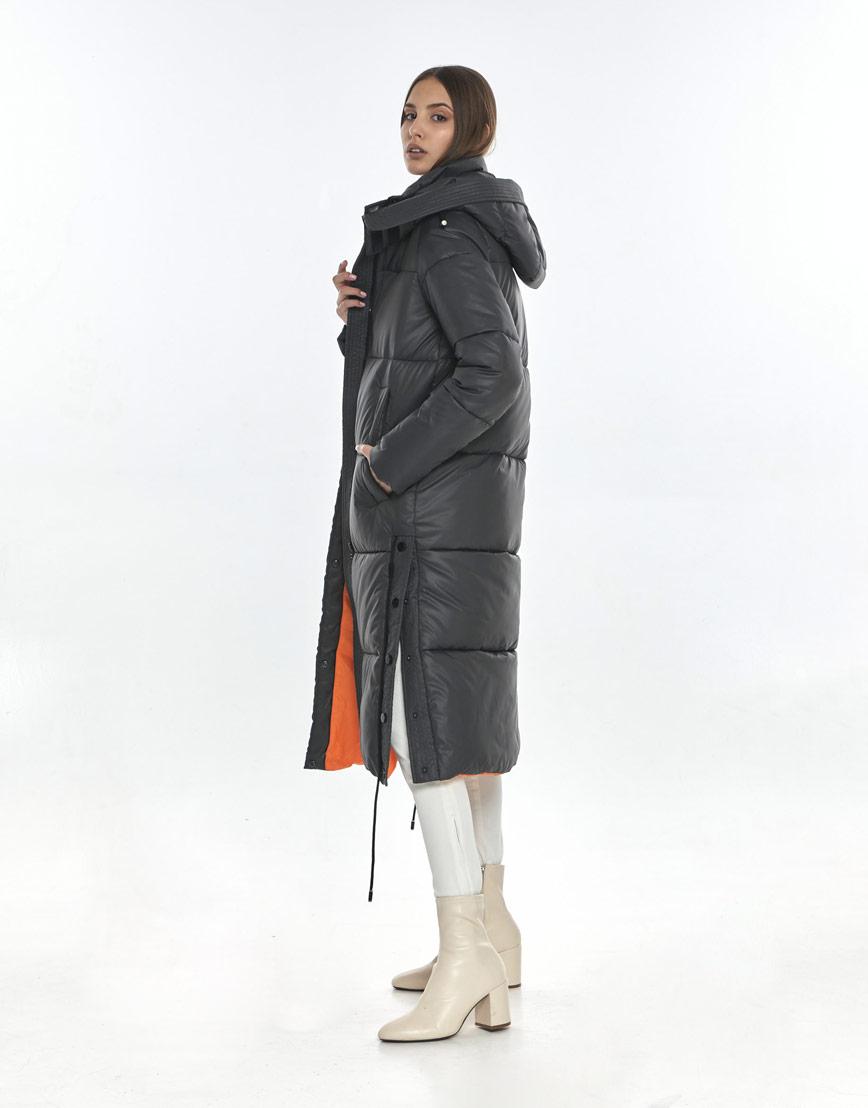 Серая зимняя куртка Vivacana фирменная для девушки подростковая 7654/21 фото 3