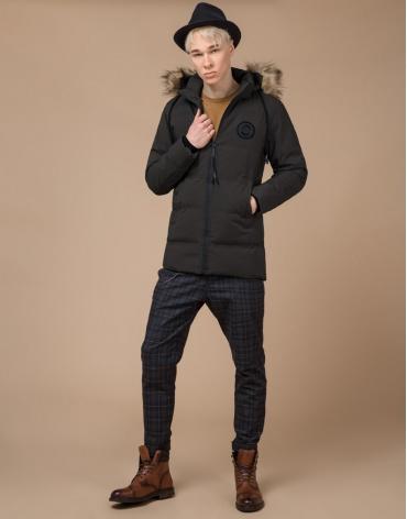 Куртка теплая подростковая цвета кофе модель 25550 оптом