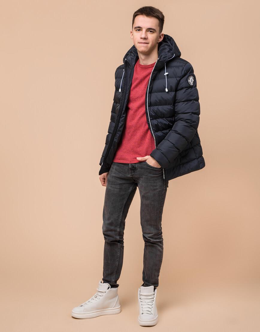 Сине-черная куртка подростковая качественного пошива модель 76025 фото 2
