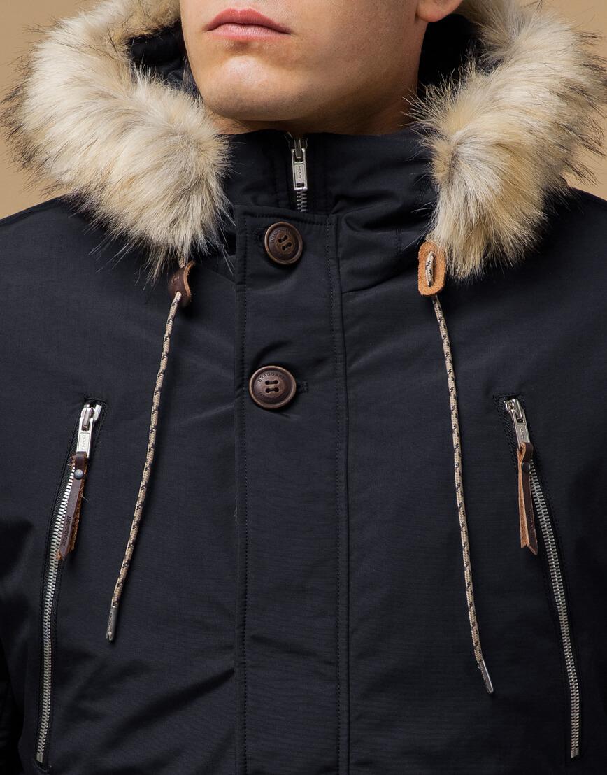 Черно-синяя парка зимняя трендовая модель 14015 фото 4