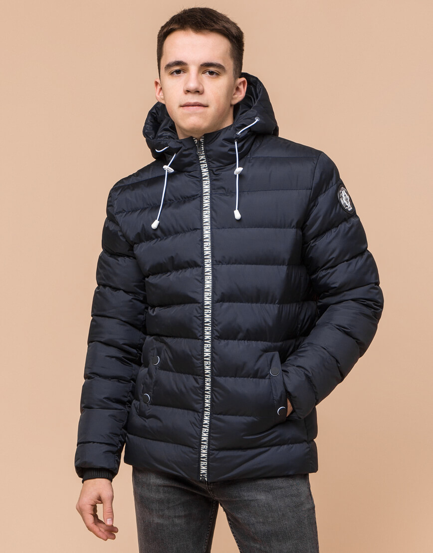 Сине-черная куртка подростковая качественного пошива модель 76025 фото 3