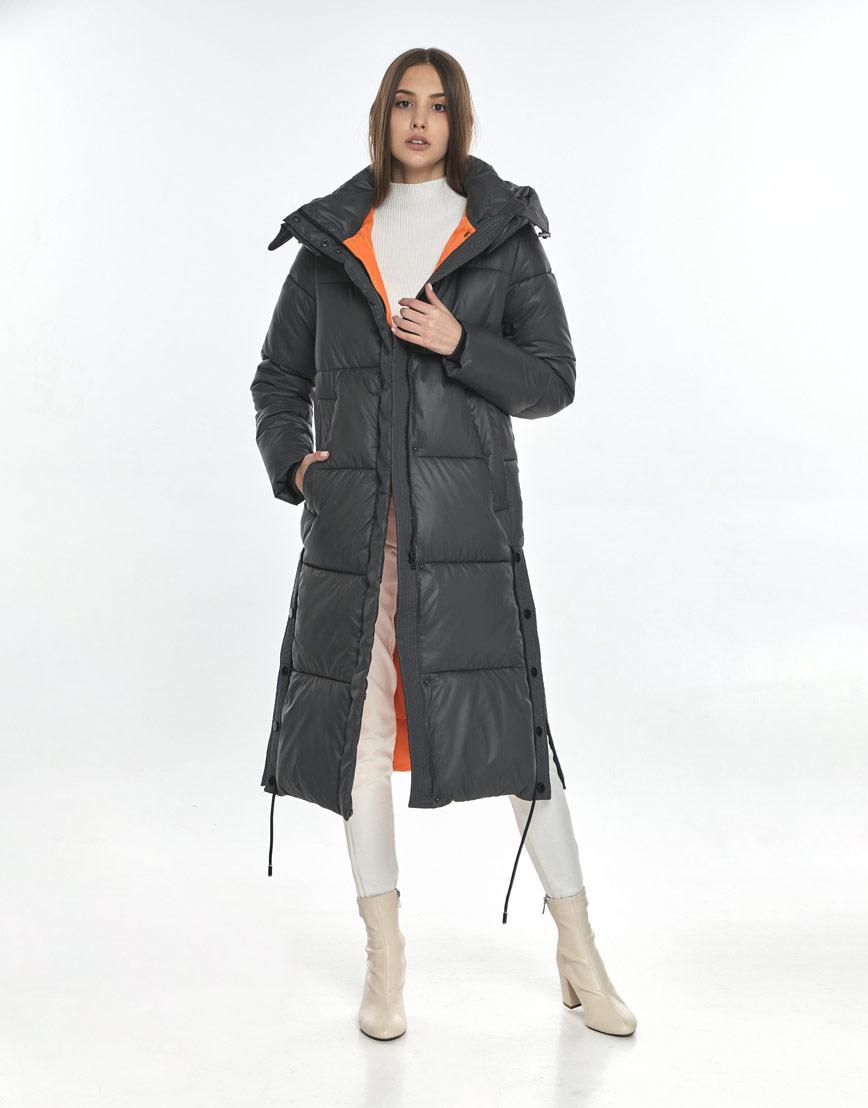 Серая зимняя куртка Vivacana фирменная для девушки подростковая 7654/21 фото 2