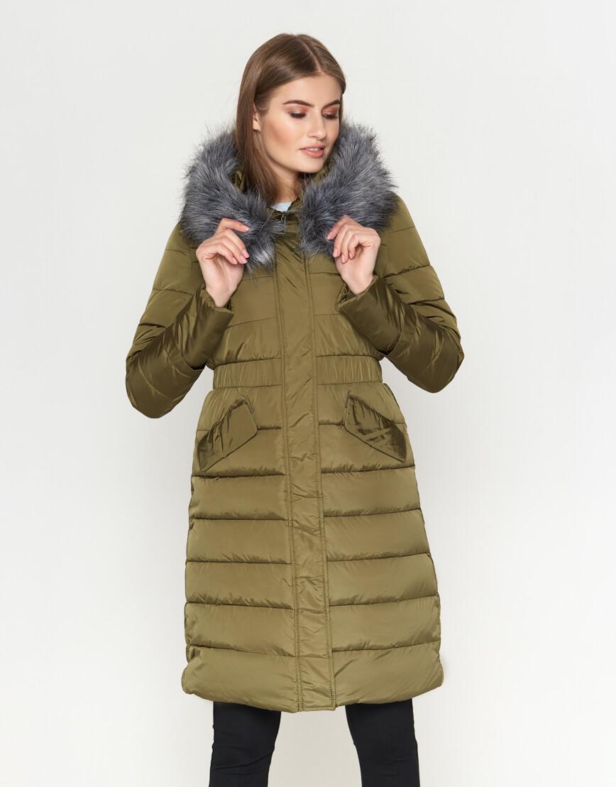 Оригинальная куртка женская цвета хаки модель 8606 фото 3