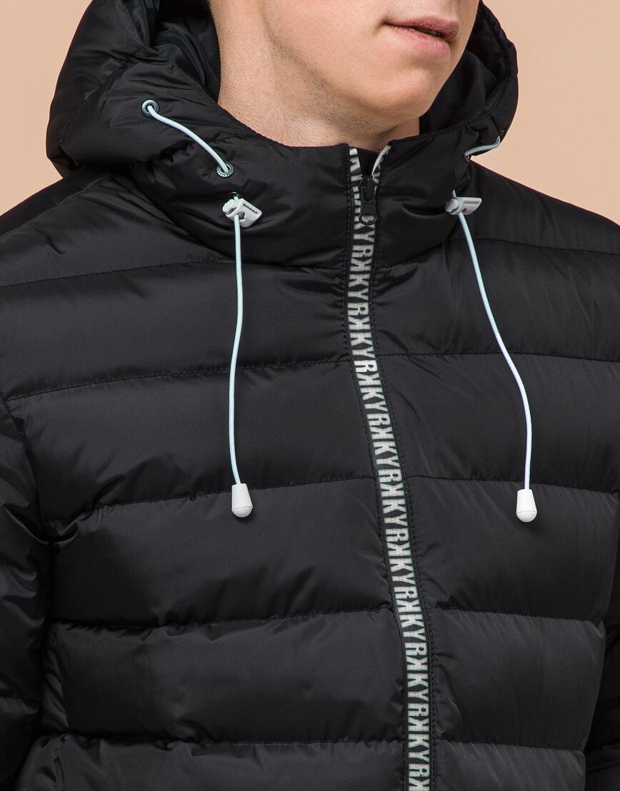 Черная подростковая куртка модного дизайна модель 76025 фото 5