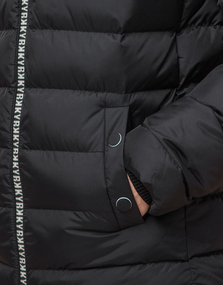 Черная подростковая куртка модного дизайна модель 76025 фото 6