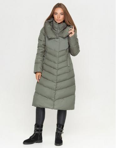 Брендовая женская куртка цвет фисташковый модель 8596