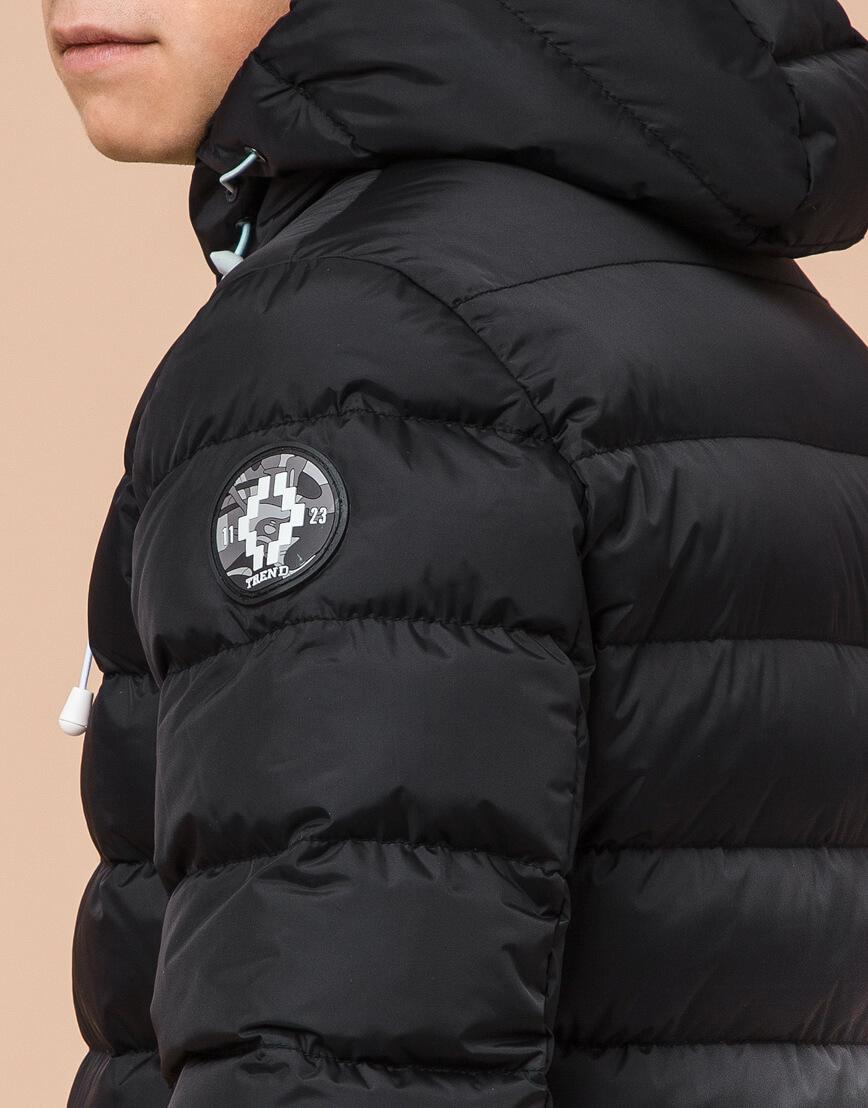 Черная подростковая куртка модного дизайна модель 76025 фото 7