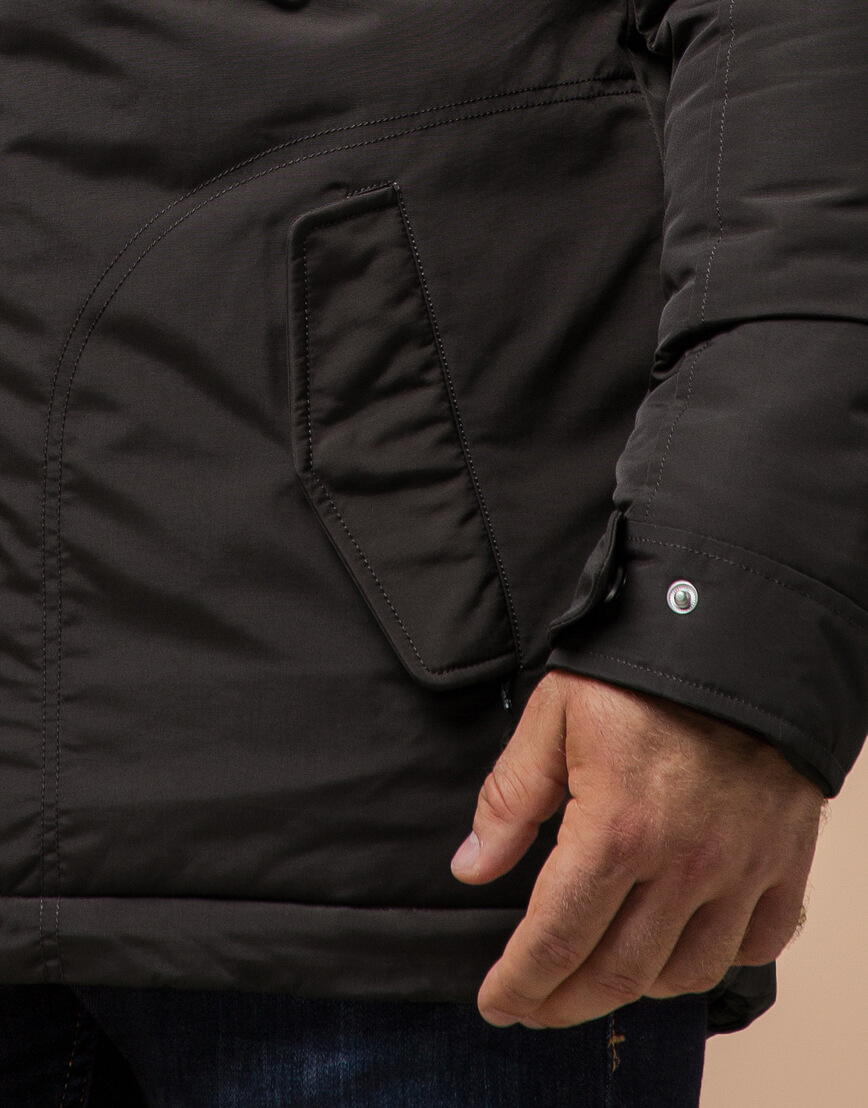 Парка с капюшоном коричневая зимняя модель 43015 фото 5