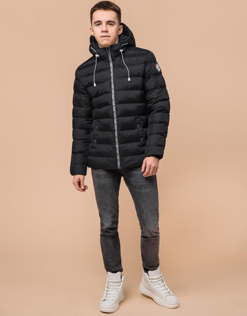 Черная подростковая куртка модного дизайна модель 76025 фото 2