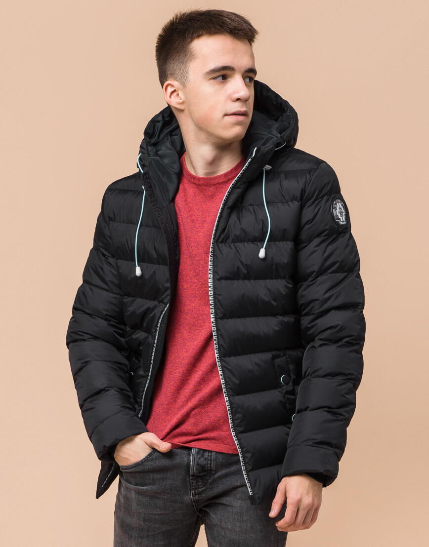 Черная подростковая куртка модного дизайна модель 76025 фото 1