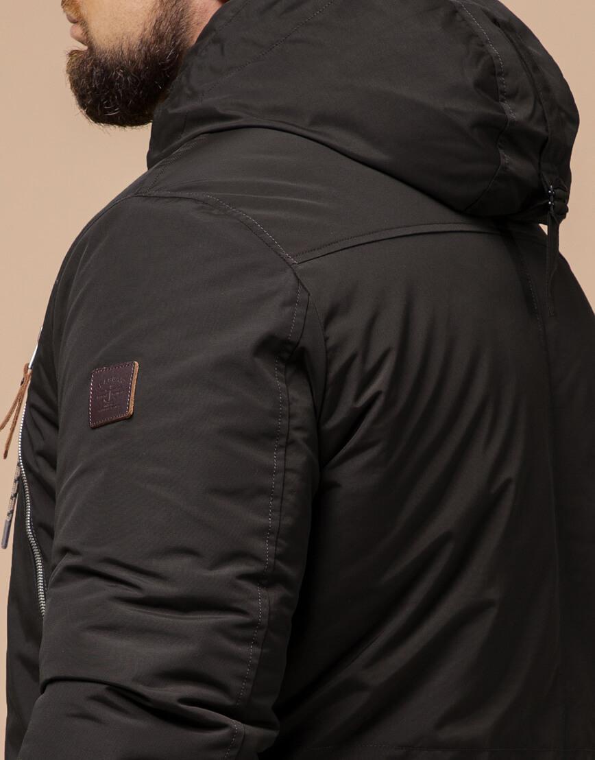 Парка с капюшоном коричневая зимняя модель 43015 фото 6