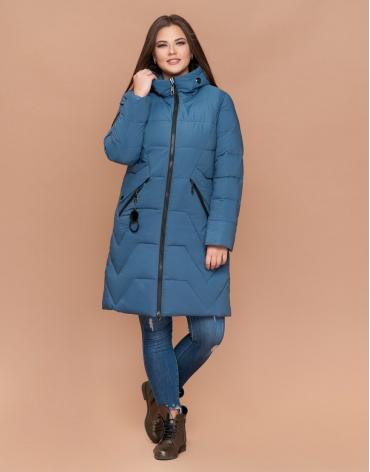 Куртка женская зимняя теплая темно-голубая большого размера модель 25525