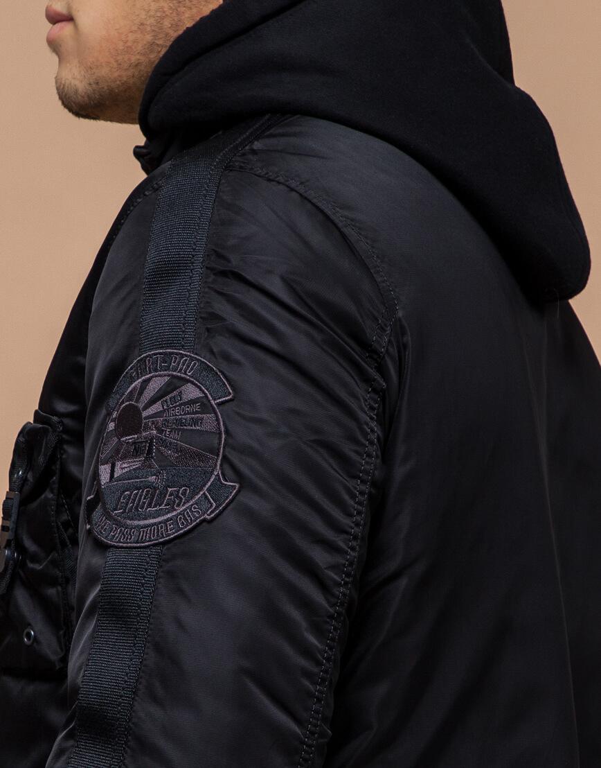 Парка черная мужская на зиму модель 17197 оптом