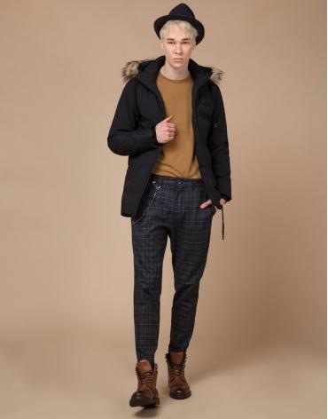 Качественная куртка черная подростковая модель 25550 оптом