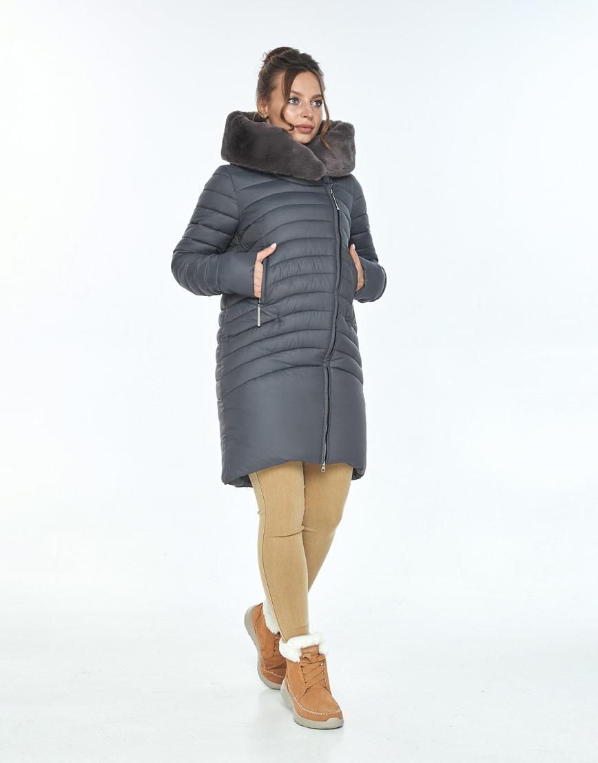 Серая куртка Ajento женская с карманами 24138 фото 2