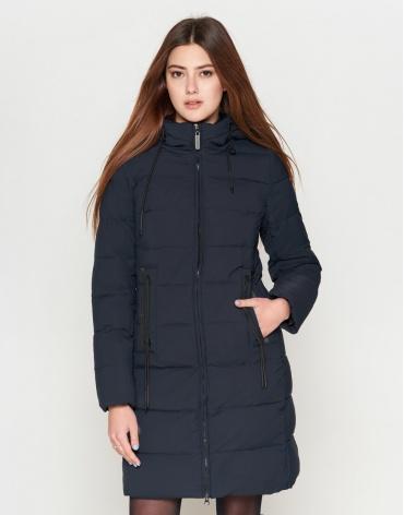 Молодежная женская брендовая темно-синяя куртка модель 25285-1